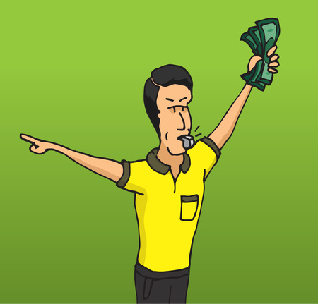 bribe: Cartoon illustration of corrupt referee taking a bribe Illustration