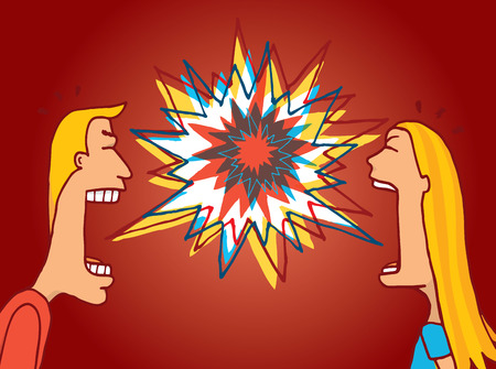 mouth couple: Cartoon illustration of couple discussing an argument or having a fight Illustration