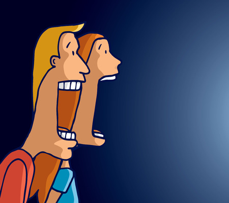 Cartoon illustration of scared couple screaming together facing a strong light Illustration