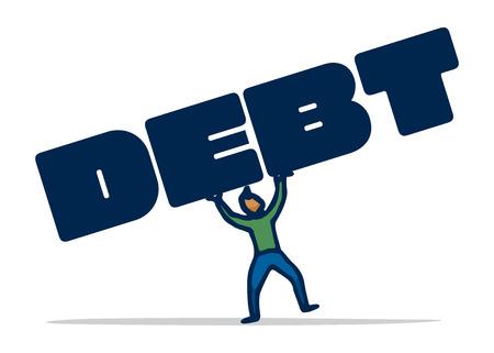 tilting: Cartoon illustration of man balancing his debt suffering the weight