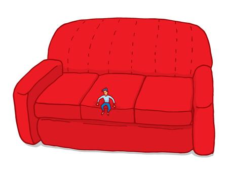 Cartoon illustration of miniature man feeling small on couch
