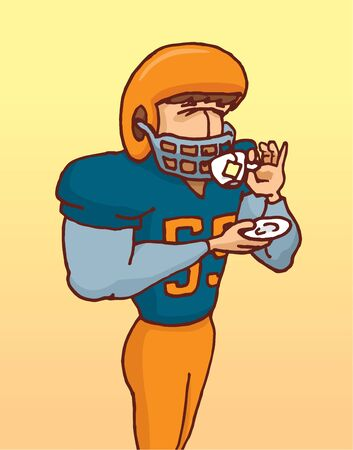 sexual health: Cartoon illustration of funny football player in uniform delicately drinking tea