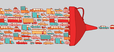 Cartoon illustration of cars in heavy traffic jam driving through a giant funnel Çizim