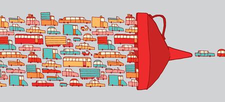 mermelada: Ilustración de dibujos animados de coches en el atasco de conducir tráfico a través de un embudo gigante Vectores