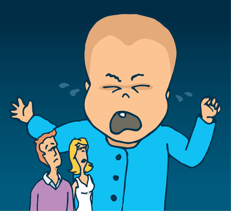 Cartoon illustration of huge crying baby and concerned parents
