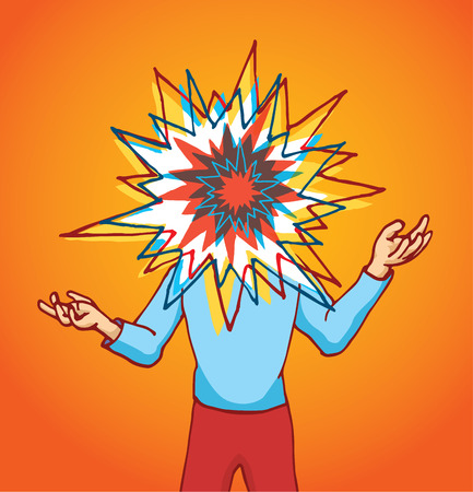 Cartoon illustration of stressed man with colorful exploding head Illustration