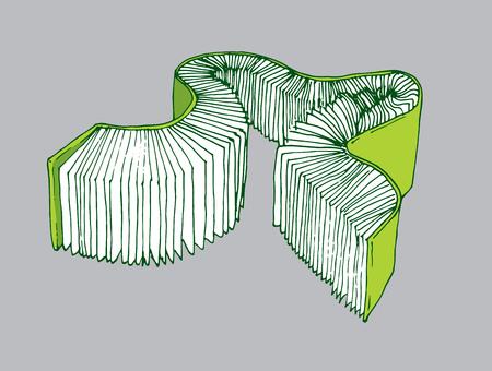 Illustration de bande dessinée d'un long livre épais uniques Banque d'images - 42154656