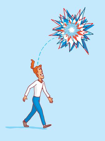 observing: Cartoon illustration of man observing an idea exploding as fireworks