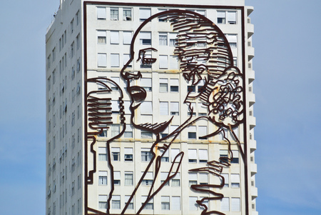 peron: Huge evita installation in Buenos Aires Argentina Editorial