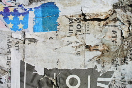 Photograph of urban random collage background or paper texture