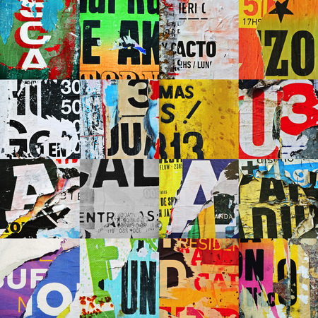 grid paper: Photograph of random urban collage or grid letter paper texture Stock Photo