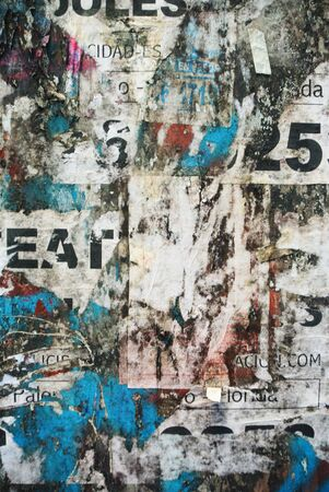 Photograph of urban collage or typography paper texture with eat word