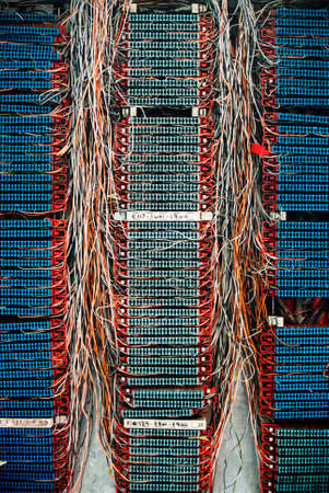 telephone cable: Photo of complex telephone cable connections or switchboard