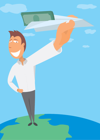 immigrant: Cartoon illustration of happy man sending paper via paper plane