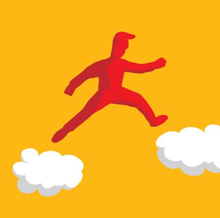 Cartoon illustration of man jumping on clouds taking risks Illustration
