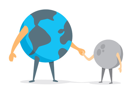 father and son holding hands: Cartoon illustration of earth and moon holding hands
