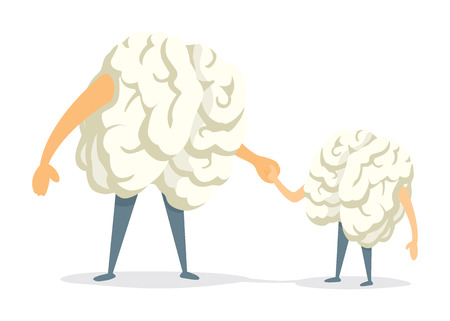 father and son holding hands: Cartoon illustration of cute brain father and son holding hands