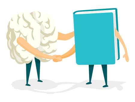 friends together: Cartoon illustration of friendly handshake between brain and book
