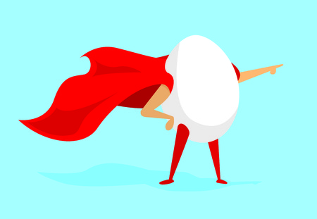 Cartoon illustration of egg super hero with cape