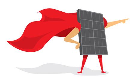 Illustrazione del fumetto di pannello solare energia come super eroe con il mantello