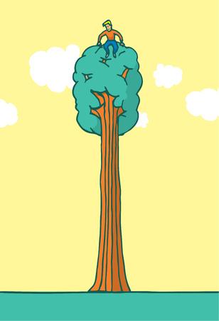 branch cut: Cartoon illustration of tree hugger enjoying nature sitting on top Illustration
