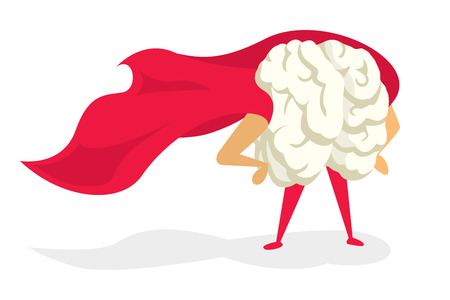 Cartoon illustration of brain super hero with cape