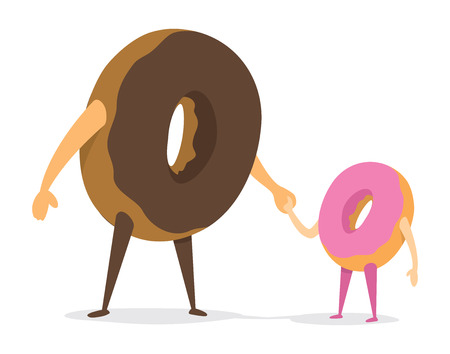 family eating: Cartoon illustration of cute donut father and daughter holding hands Illustration