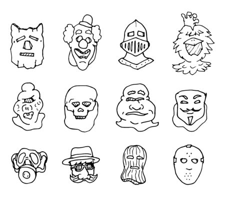private eye: Cartoon illustration of different costume and masks set
