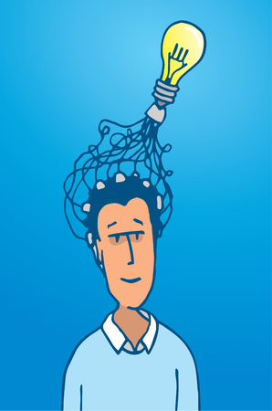 Cartoon illustration of man connecting his brain into a light bulb idea