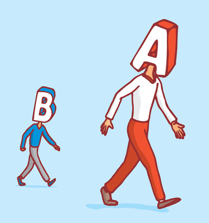 opponent: Cartoon illustration of competition between two letter heads walking