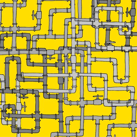 Cartoon illustration of tangled complex water pipeline texture