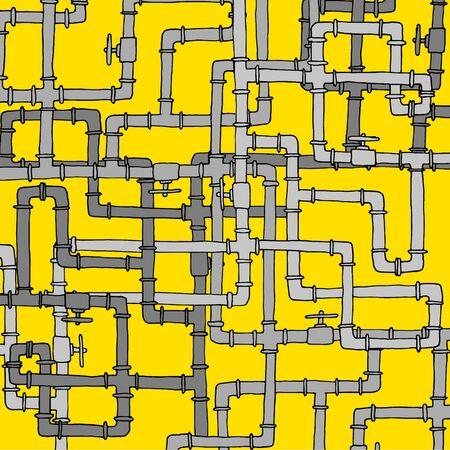 plumber: Ilustración de la historieta del agua compleja maraña de tuberías textura Vectores
