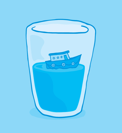 confined: Cartoon illustration of miniature boat floating on glass of water