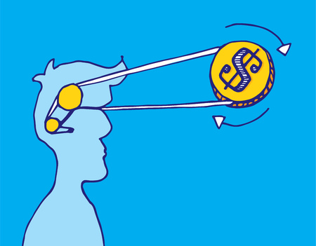 economic interest: Cartoon illustration of coin or money spinning economic thoughts