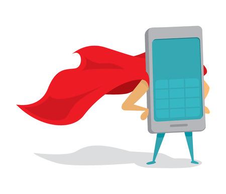 telefono caricatura: Ilustración de dibujos animados de teléfono móvil o teléfono móvil súper héroe con el cabo