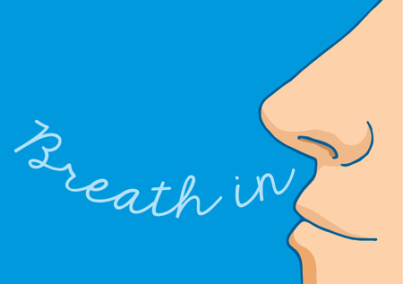 Ilustración de dibujos animados de la respiración nasal en una palabra