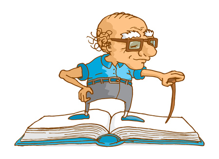 age old: Cartoon illustration of senior man projecting wisdom and knowledge