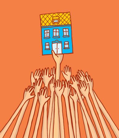 pelea: Ilustraci�n de dibujos animados de los competidores luchando para alquilar o comprar casa en el control de alquileres
