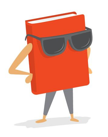 best book: Cartoon illustration of cool red book or best seller wearing sunglasses