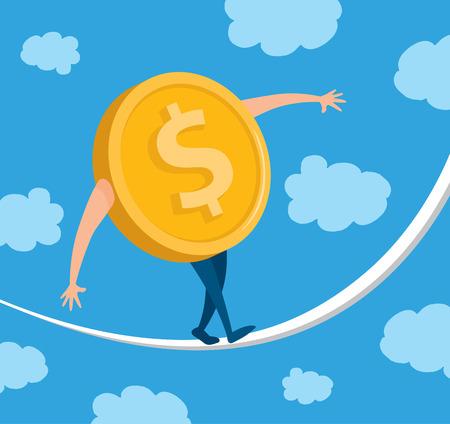 vertigo: Cartoon illustration of dollar coin balancing on a string Illustration