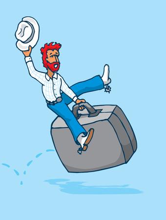 shaky: Cartoon illustration of cowboy riding a portfolio as hard business rodeo Illustration