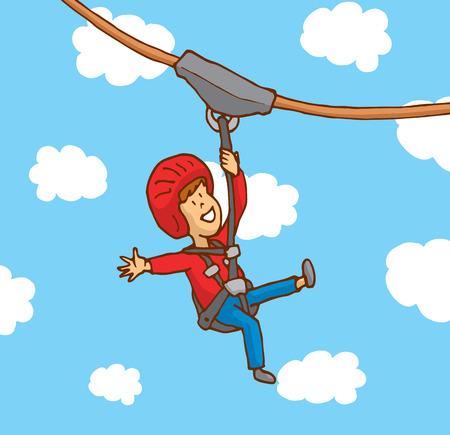 safety harness: Cartoon illustration of happy kid enjoying a zipline Illustration