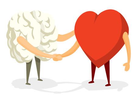 inteligencia emocional: Ilustración de dibujos animados de amistoso apretón de manos entre el cerebro y el corazón