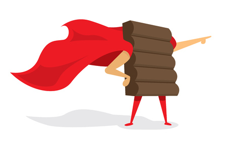 chocolate bar: Cartoon illustration of chocolate bar super hero standing with cape Illustration