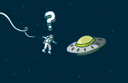 suspense: Cartoon illustration of a funny encounter between astronaut and alien spaceship Illustration