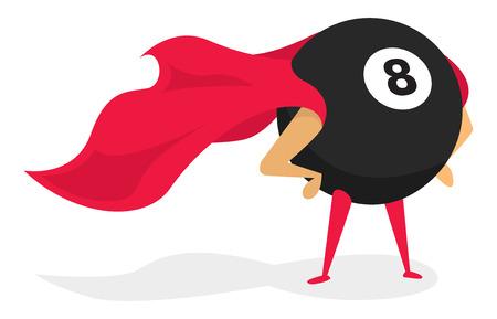 bola ocho: Ilustraci�n de dibujos animados de la mala suerte bola ocho s�per h�roe