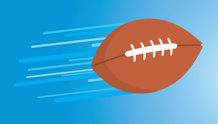 mid air: Cartoon illustration of american football pass in mid air flying leaving trail Illustration