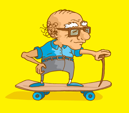 seniority: Cartoon illustration of bald senior citizen skating with cane