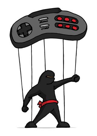 move controller: Cartoon illustration of ninja marionette controlled by game controller Illustration