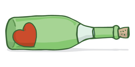 pen cartoon: Cartoon illustration of red heart inside a wine bottle Illustration